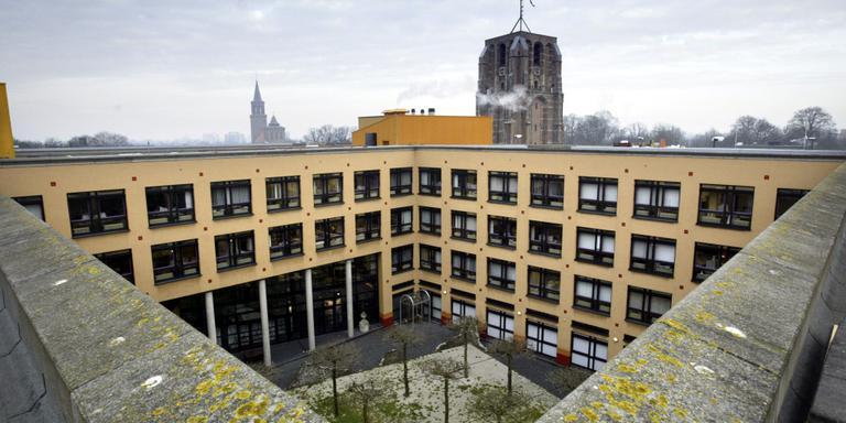 Het binnenplein van het stadskantoor in Leeuwarden. Foto LC