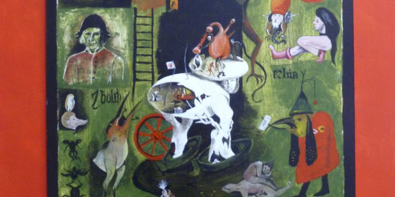 Japke Weij schilderde dit drieluik, geïnspireerd door Jeroen Bosch.