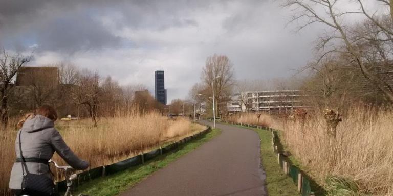 Schermen zijn geplaatst aan weerszijden van het fietspad. FOTO FACEBOOK GEMEENTE LEEUWARDEN