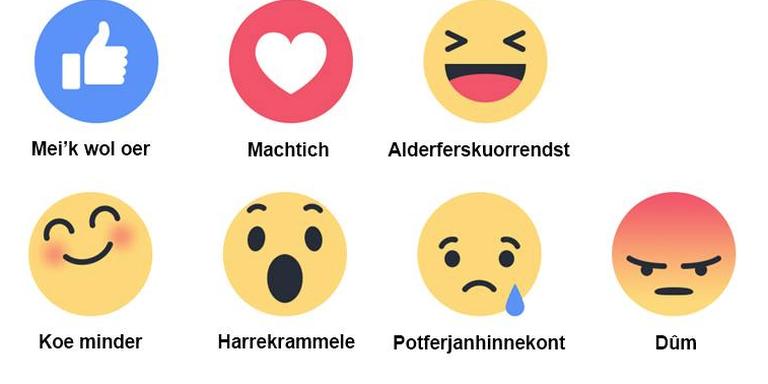 Praat mar Frysk maakte een Friese variant van de Facebook Reactions.