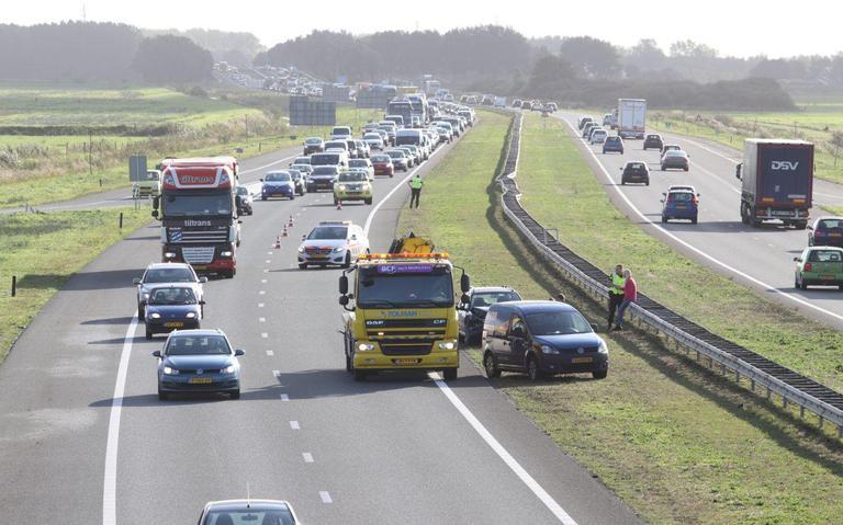File op A7 richting Drachten door ongeval.