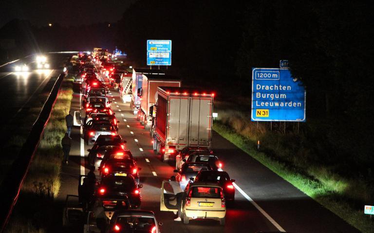 Ongeval in file op A7 bij Drachten.