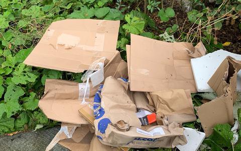 In het plantsoen werd op meerdere plekken papier- en kartonafval gevonden.