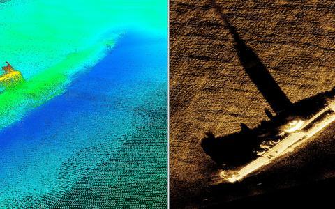 Twee verschillende soorten scans laten zien hoe de duikboot UB61 op de bodem van de Noordzee ligt.