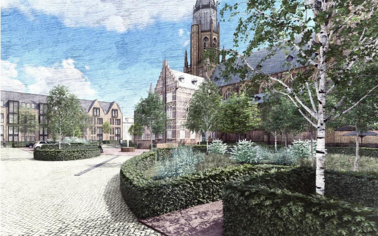 Impressie van het vernieuwde Bonifatiusplein met appartementen achter Voorstreek 62.