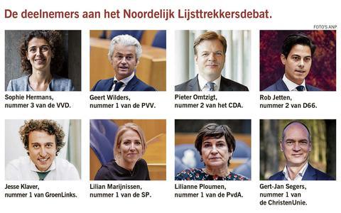 De deelnemers aan het Noordelijk Lijsttrekkersdebat.