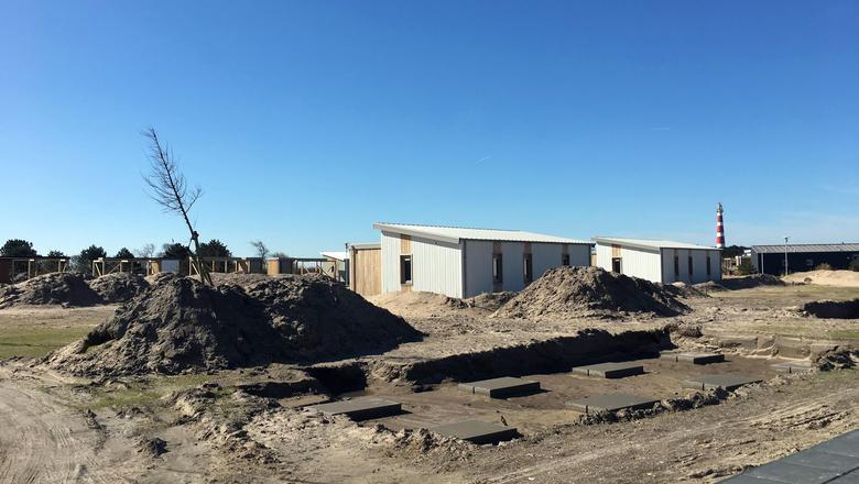 De aanleg van nieuwe chalets op Boomhiemke.