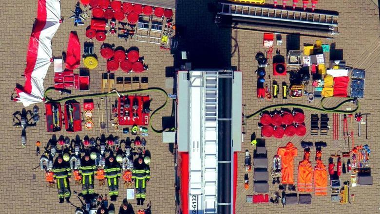 De Tetris-challenge van de brandweer. FOTO BRANDWEER FRYSLÂN