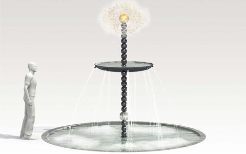 De fontein zoals hij bedoeld is met onder de stralen en bovenin de bol met de zogenaamde Oortwolk