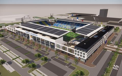 In het nieuwe ontwerp van het Cambuurstadion zijn alleen de tribunes overdekt, de hoeken niet.