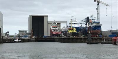 De scheepswerf in Harlingen waar Thecla Bodewes destijds financiering voor zocht. FOTO LC