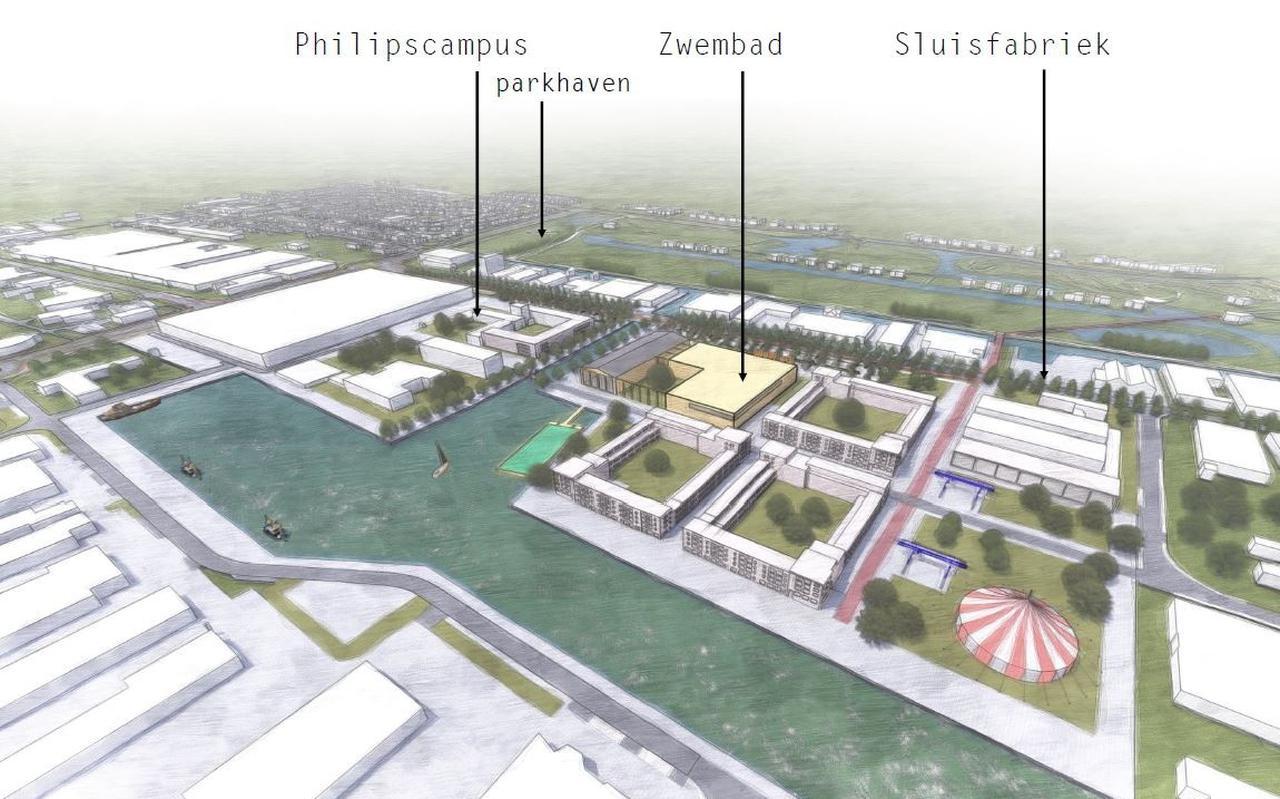 Mogelijk toekomstbeeld van de Tussendiepen, inclusief zwembad.
