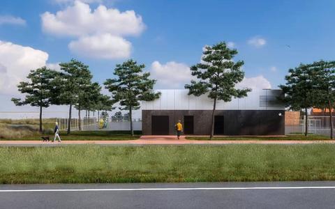 Impressie van het nieuwe stroomstation bij Kornwerderzand