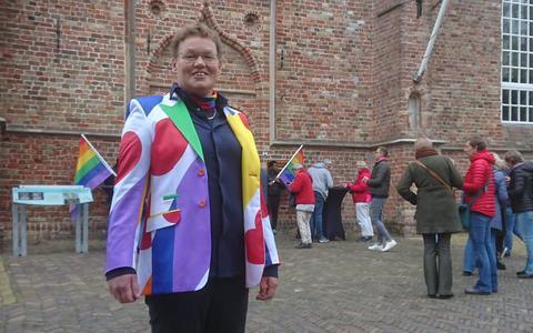 Lenie Lap uit Wetsens, een van de bezoekers van de Regenboogviering.