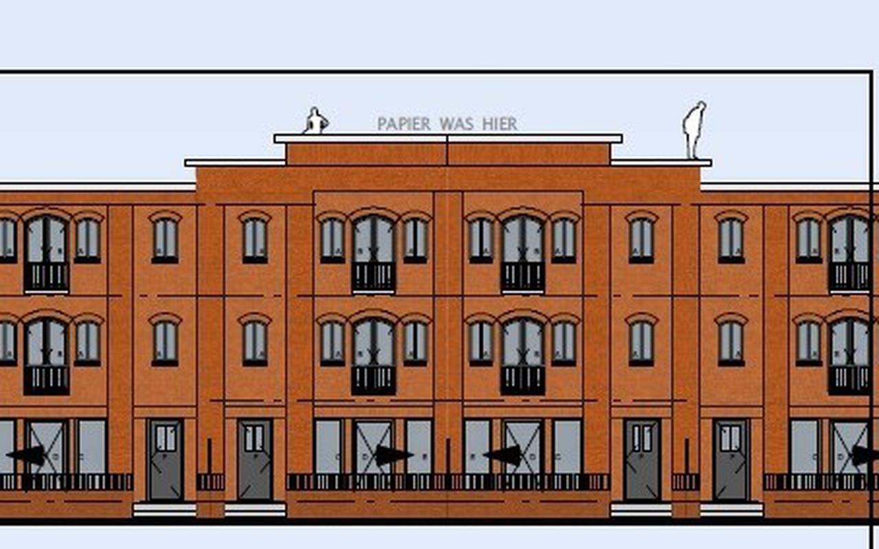 Het ontwerp voor de kadewoningen, die de afgelopen jaren zij verrezen langs de Harlingertrekweg.