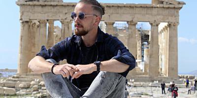 Jetze Roskam in Griekenland, tijdens een eerdere reis.