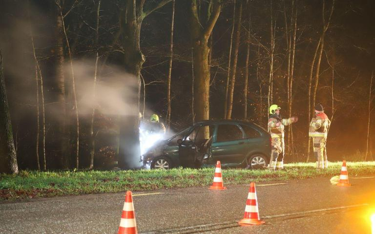 Jonge kinderen gewond bij ongeval in Sint Hubert: auto botst frontaal tegen een boom.