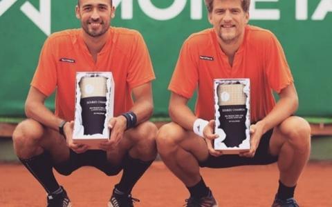 Sander Arends (rechts) en David Pel bij het ATP-tennistoernooi in Rotterdam.