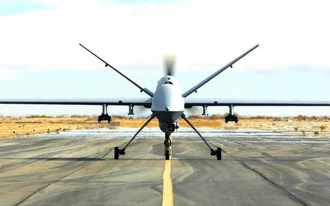Een Reaper van de British Royal Air Force in actie in Afghanistan.