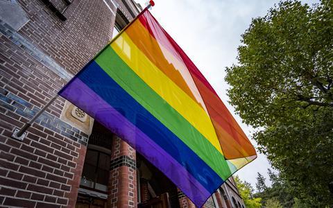 De regenboogvlag op de National Coming Out Day.
