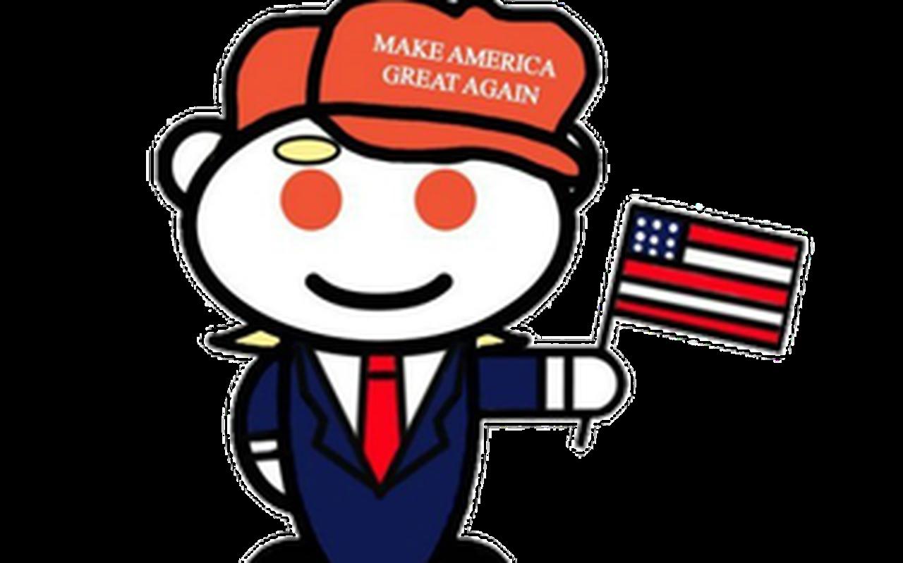 Het icoontje van de groep r/The-Donald, dat inmiddels is verwijderd van Reddit vanwege onder andere haatzaaien.