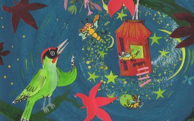 Simke de Specht ontmoet de vuurvliegjes op Dekema State. Een illustratie van Linda de Haan.