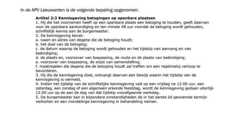 De regels in de Leeuwarder APV.