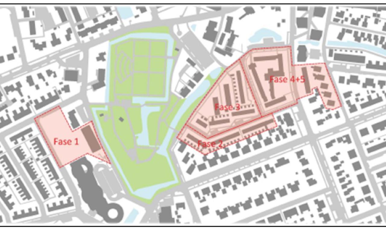 Kaartje met rood de gebieden die worden aangepakt in Grou. Bron: gemeente Leeuwarden.
