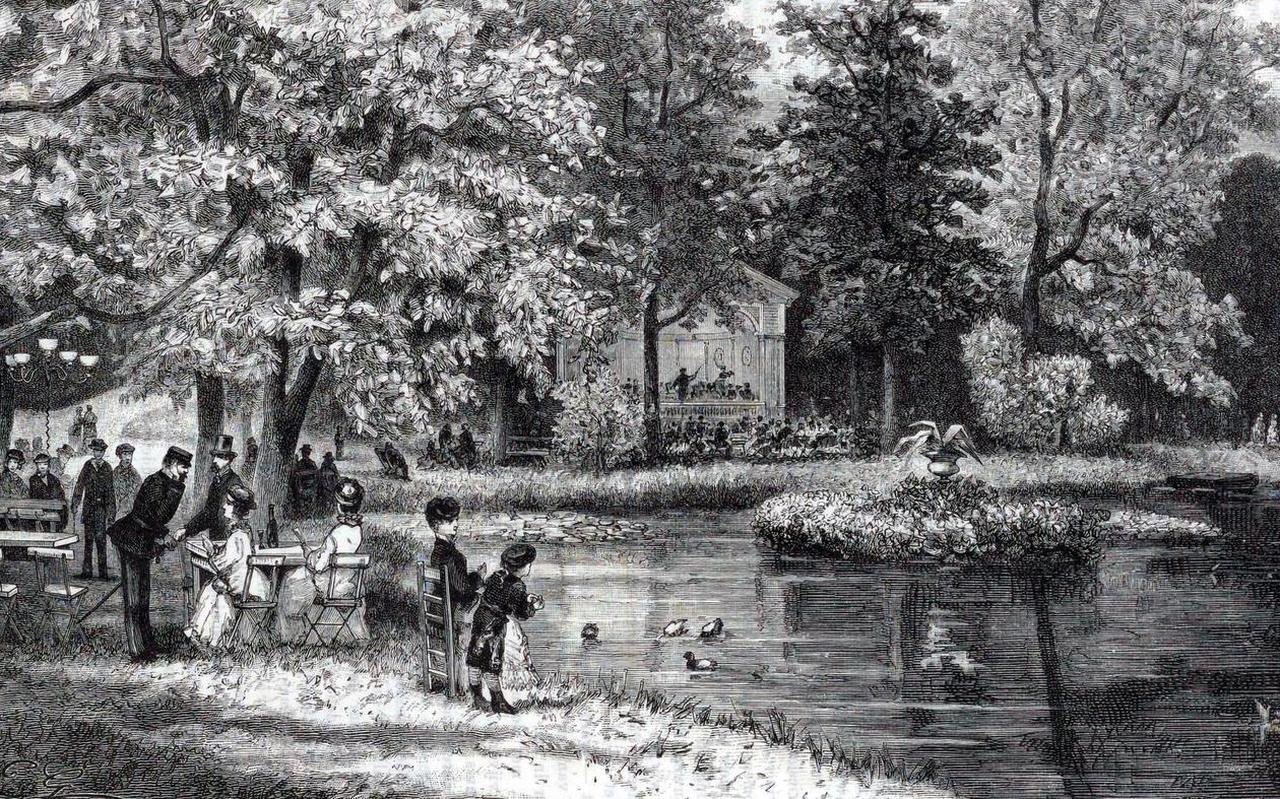 Detail uit 'Gezicht in de Prinsentuin' van J.C. Greive jr., uit 1883.