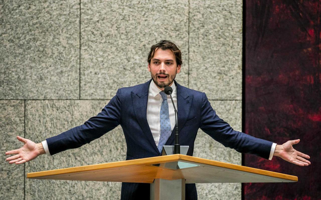 Forum-voorman Thierry Baudet tijdens een debat in de Tweede Kamer.  FOTO ANP/REMKO DE WAAL