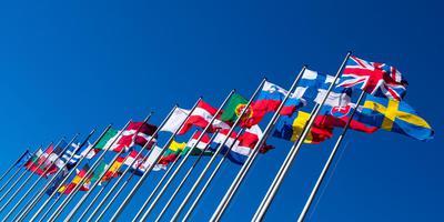 Vlaggen van Europese landen bij het Europarlement. Foto ANP/LEX VAN LIESHOUT