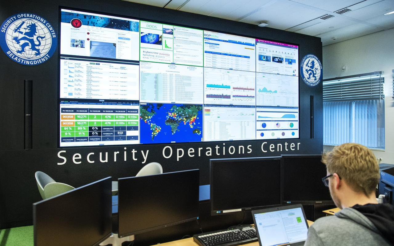 Het Security Operation Center op de afdeling ICT van de Belastingdienst.