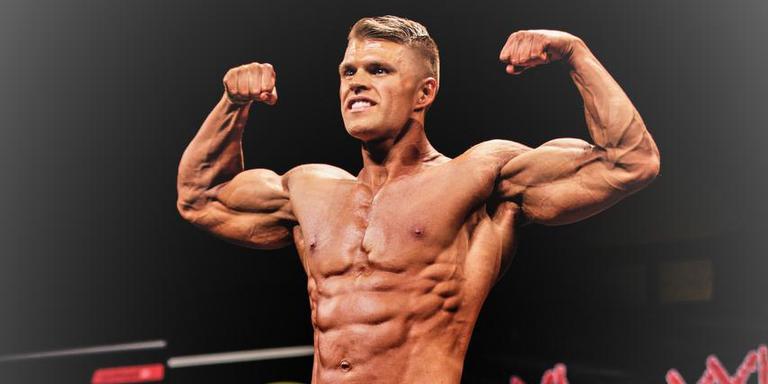 Renzo Boersma toont zich als bodybuilder. eigen foto