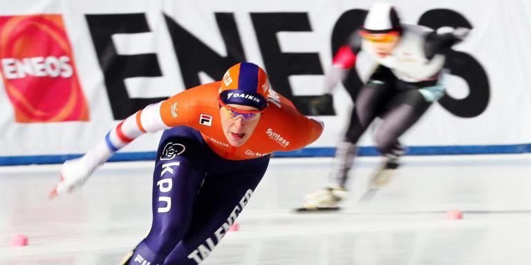 Ireen Wüst won de 1500 meter, maar had op de 3000 meter ook de wind tegen. FOTO EPA