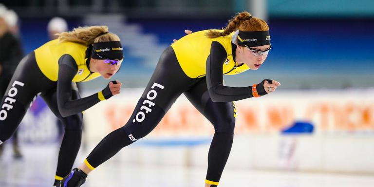 Antoinette de Jong (vooraan) in voorbereiding op het eerste Nederlandse kampioenschap voor clubs. FOTO NEEKE SMIT