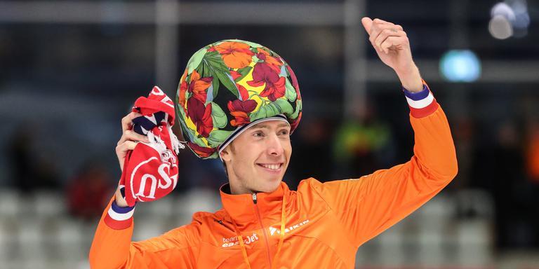 Jorrit Bergsma straalt na zijn winnende 10 kilometer. FOTO NEEKE SMIT