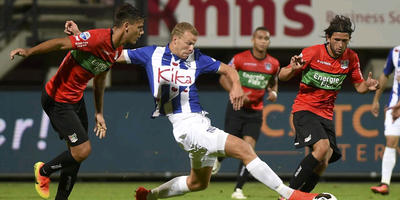 Henk Veerman kan net bij de bal in de door Heerenveen met 2-1 verloren wedstrijd tegen NEC, vorige week. FOTO FPH